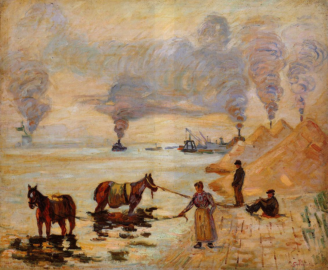 Horses in the Sand at Ivry 1891 | Armand Guillaumin | oil painting