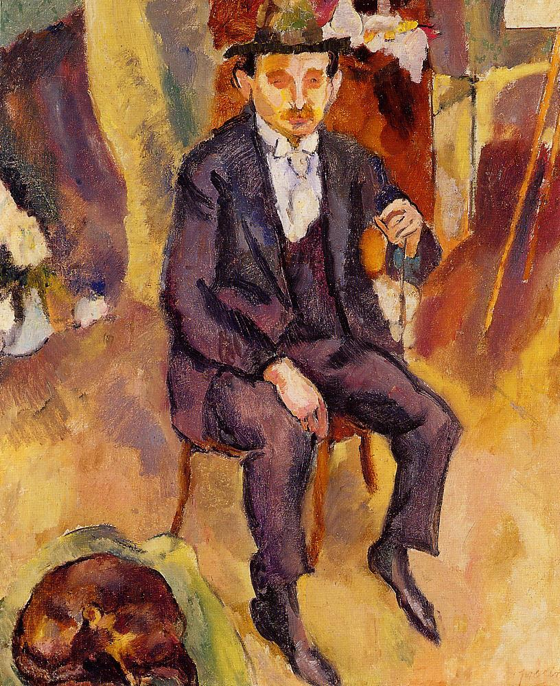 German Painter with Dog in the Studio 1922 | Jules Pascin | oil painting