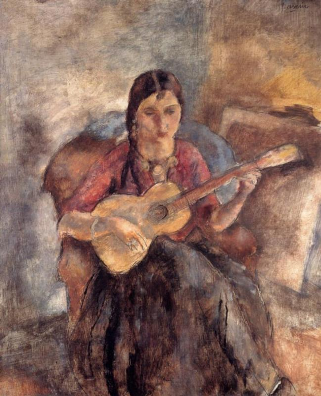 Gypsy with a Guitar 1928 | Jules Pascin | oil painting