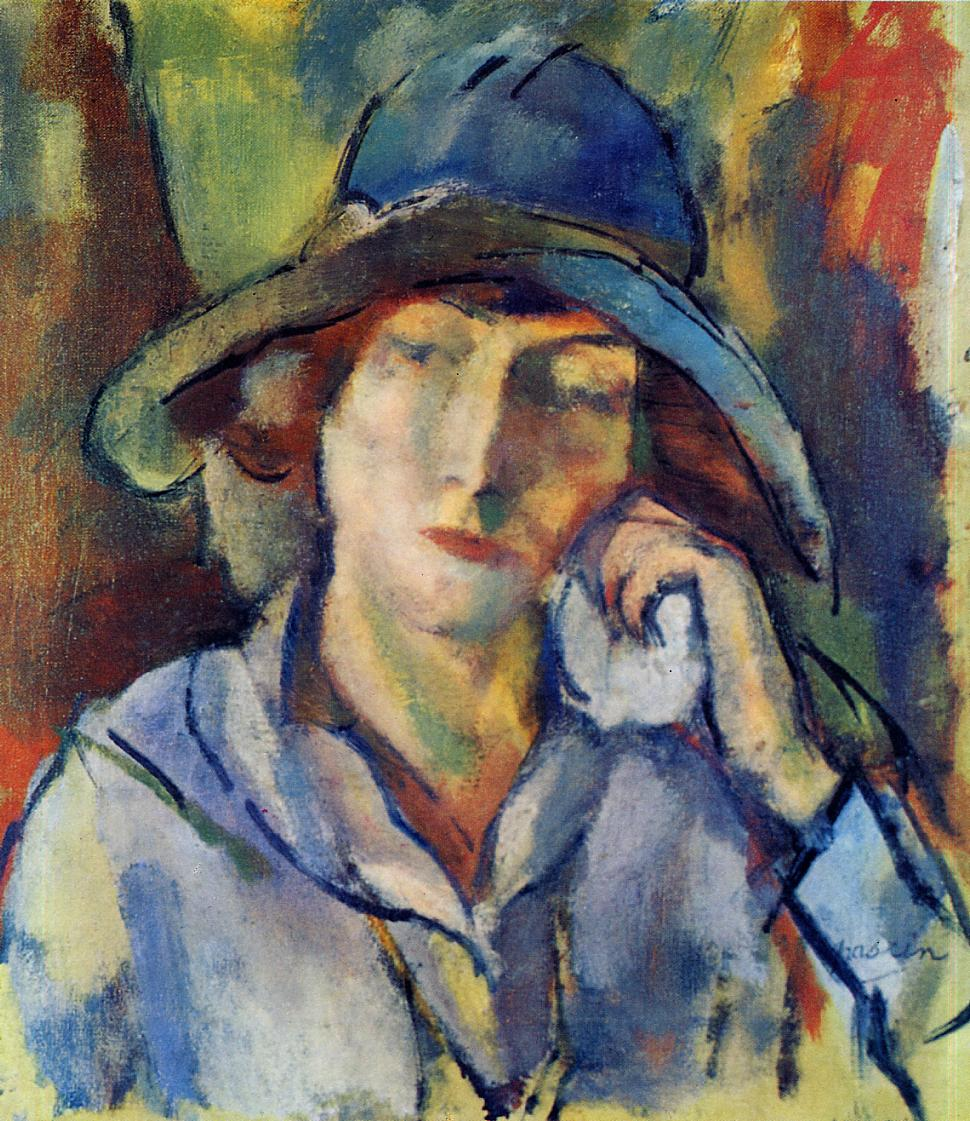Hermine in a Blue Hat 1918 | Jules Pascin | oil painting