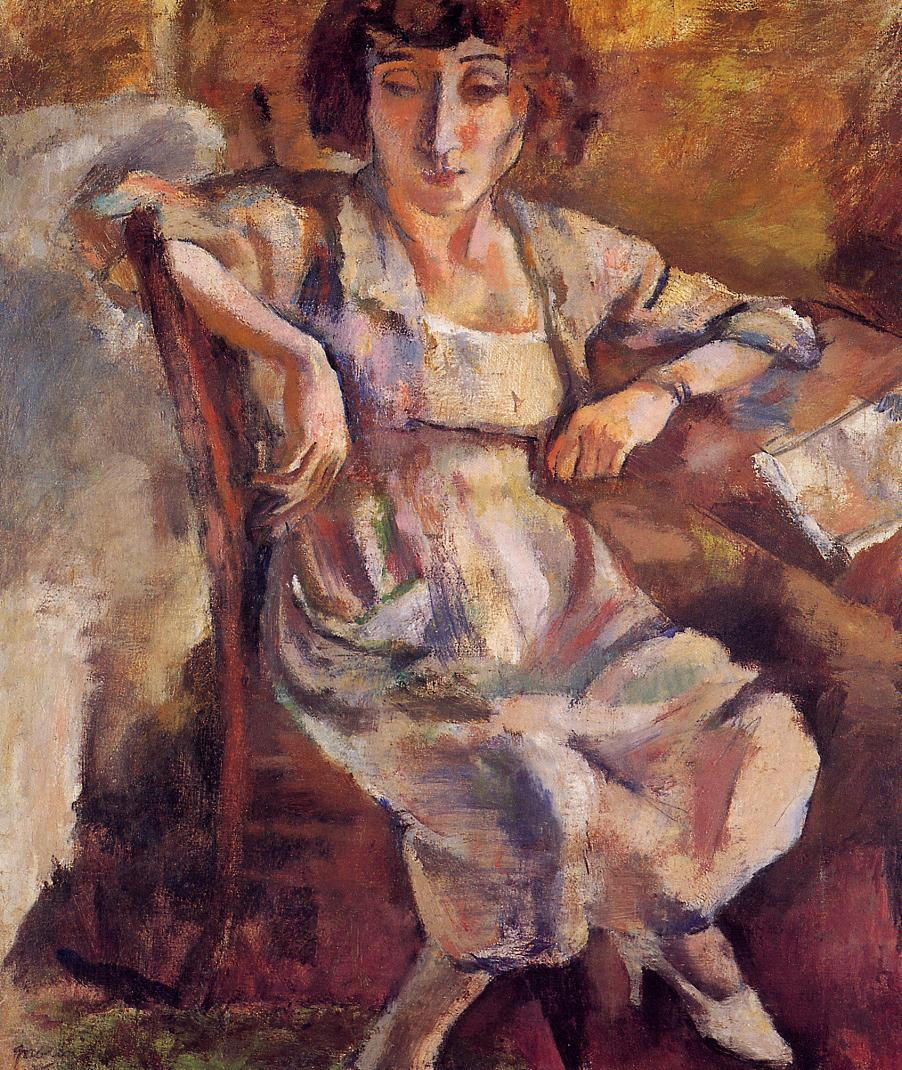 Hermine on a Chair 1918 | Jules Pascin | oil painting
