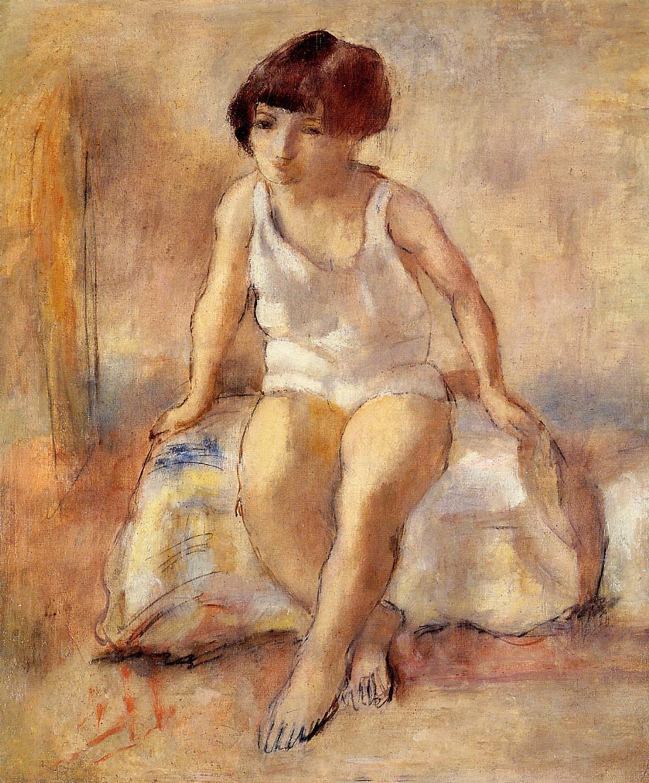 Little Girl in a White shirt 1929 | Jules Pascin | oil painting