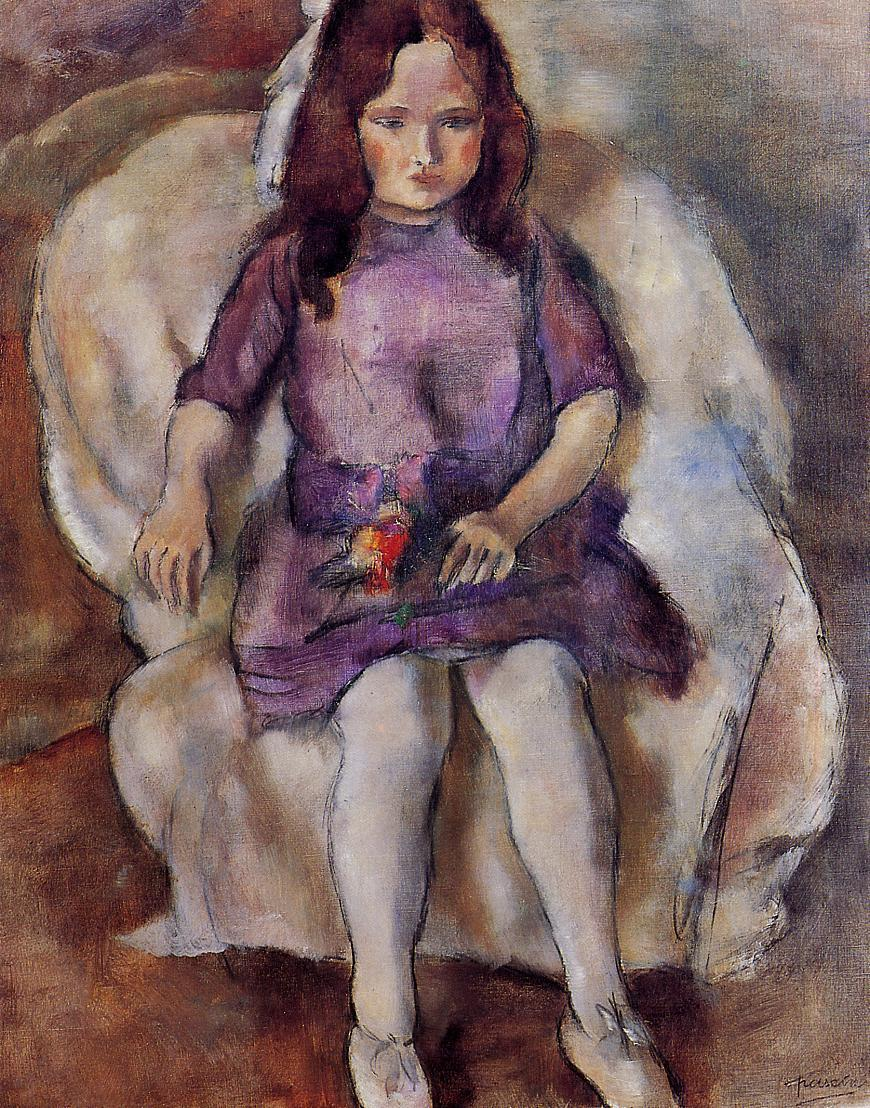 Little Girl with a Bouquet 1925 | Jules Pascin | oil painting