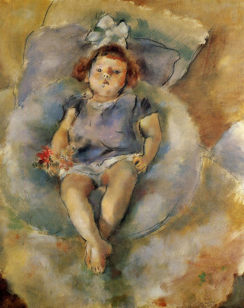 Little Girl with a White Ribbon 1928 | Jules Pascin | oil painting