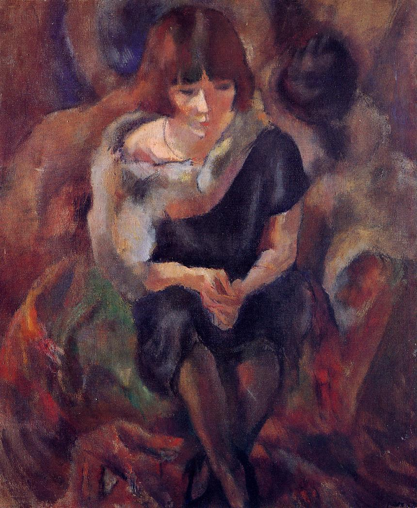 Lucy Wearing aa Fake Fur 1920 | Jules Pascin | oil painting