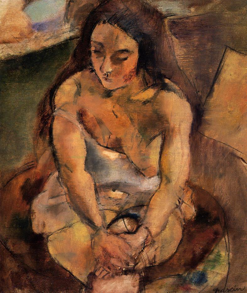 Model on a Stool | Jules Pascin | oil painting