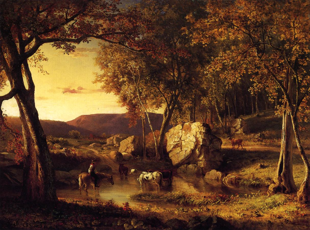 Summer Days Cattle Drinking Late Summer Early Autumn 1857 | George Inness | oil painting