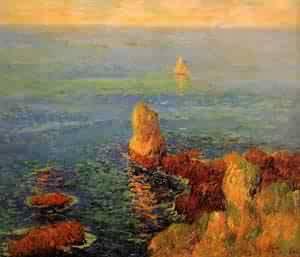 Calm Sea at LIle de Groux 1896 | Henri Moret | oil painting