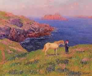 Cliff at Quesant with Horse 1895 | Henri Moret | oil painting