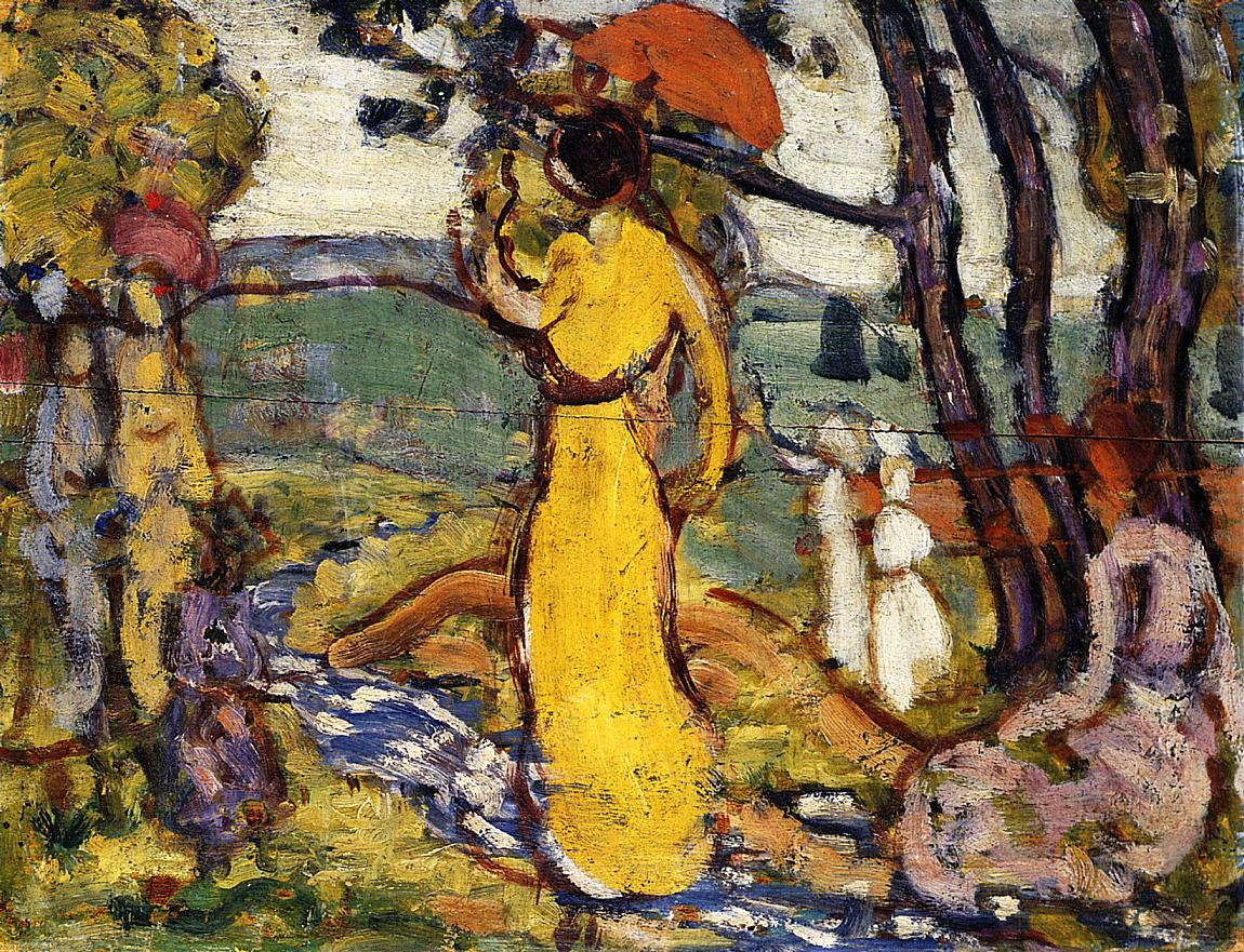 A Lady in Yellow in the Park | Maurice Predergast | oil painting