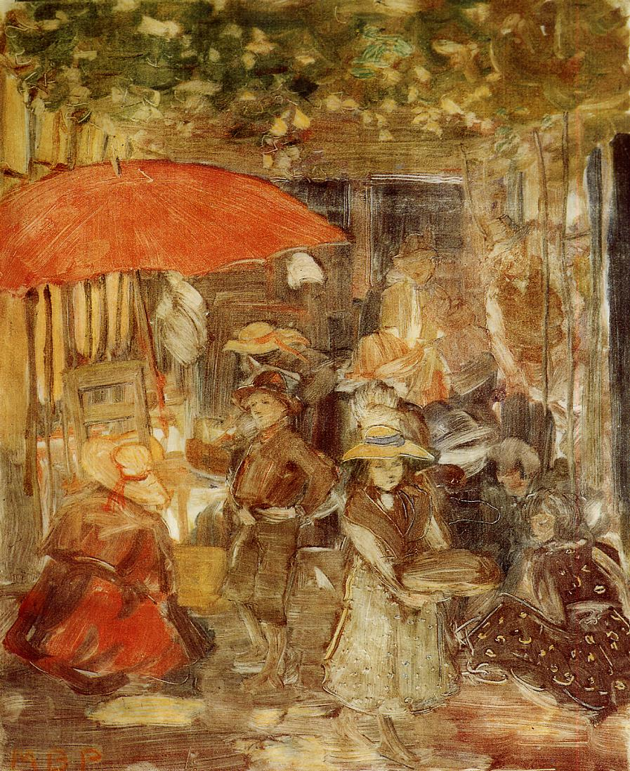 Picnic with Red Umbrella 1898-1899 | Maurice Predergast | oil painting
