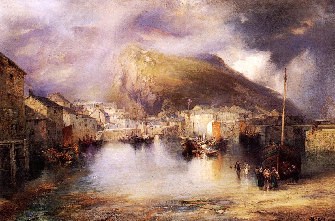 An English Fishing Village Polperro Cornwall 1907 | Thomas Moran | oil painting