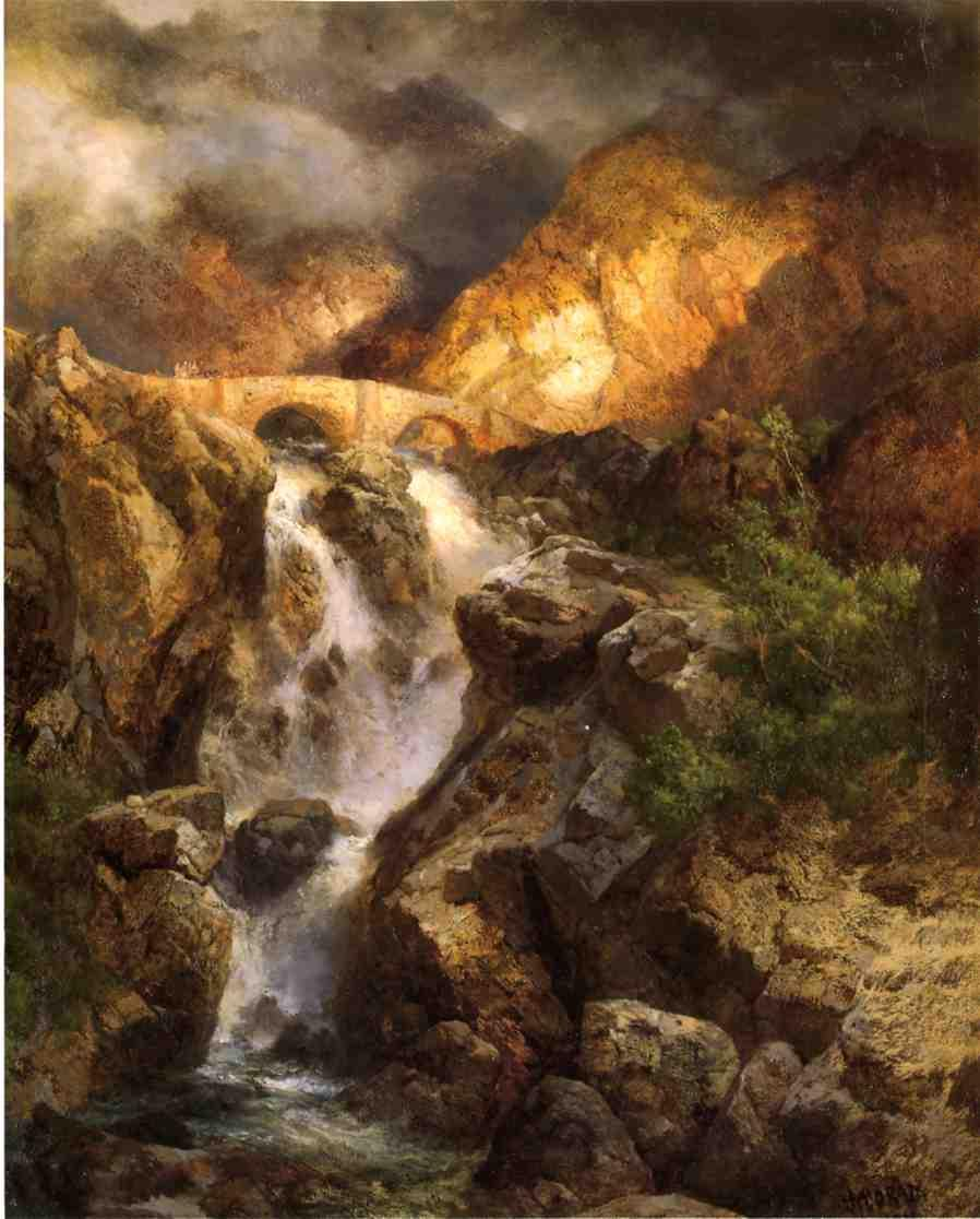 Cascading Water 1911 | Thomas Moran | oil painting