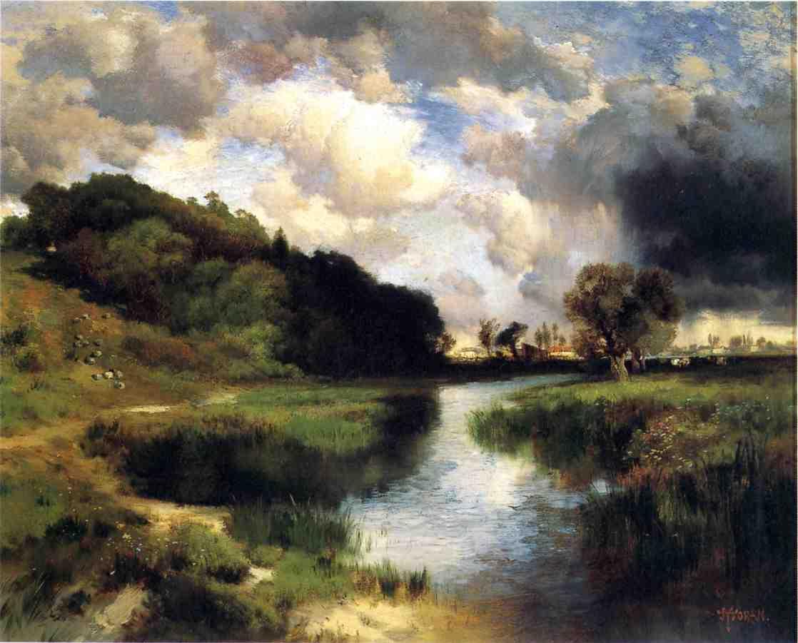 Cloudy Day at Amagansett 1884   Thomas Moran   oil painting