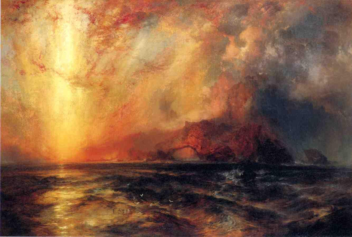 Fiercely the Red Sun Descending Burned His Way across the Heavens 1875 | Thomas Moran | oil painting