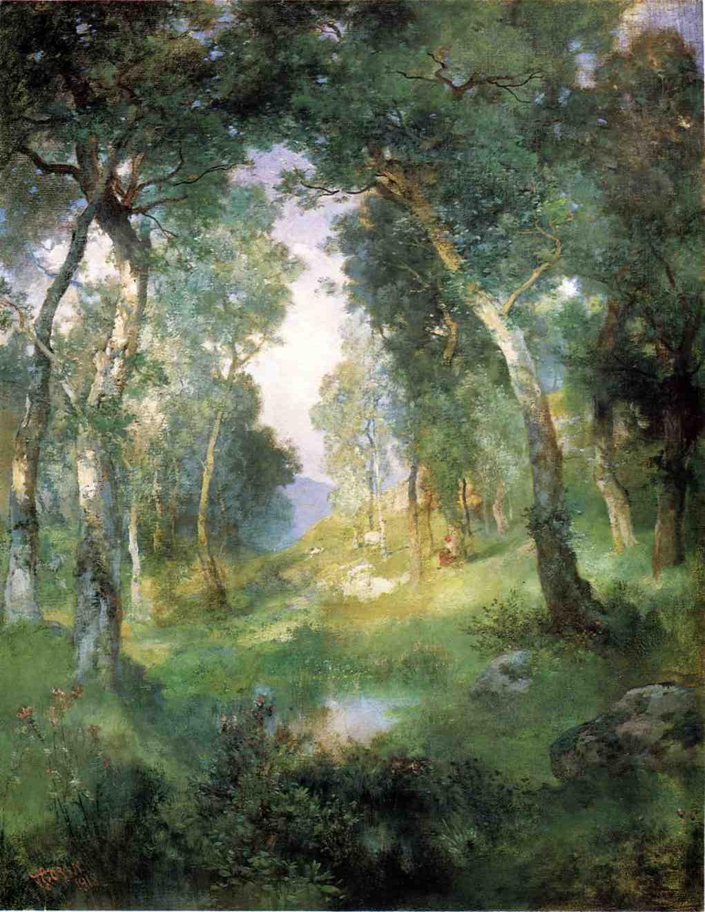 Forest Glade Santa Barbara 1918   Thomas Moran   oil painting