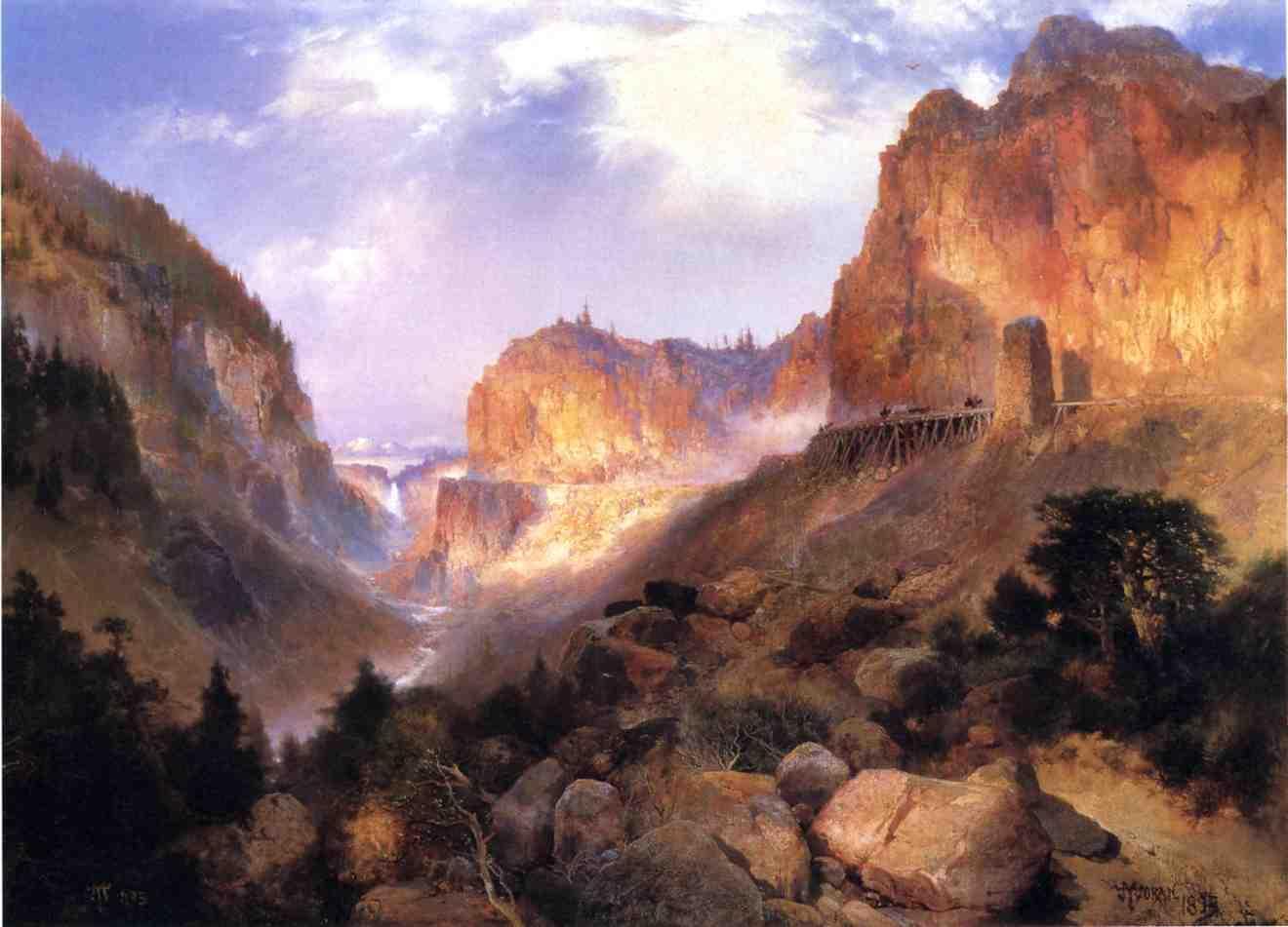 Golden Gateway to the Yellowstone 1893   Thomas Moran   oil painting