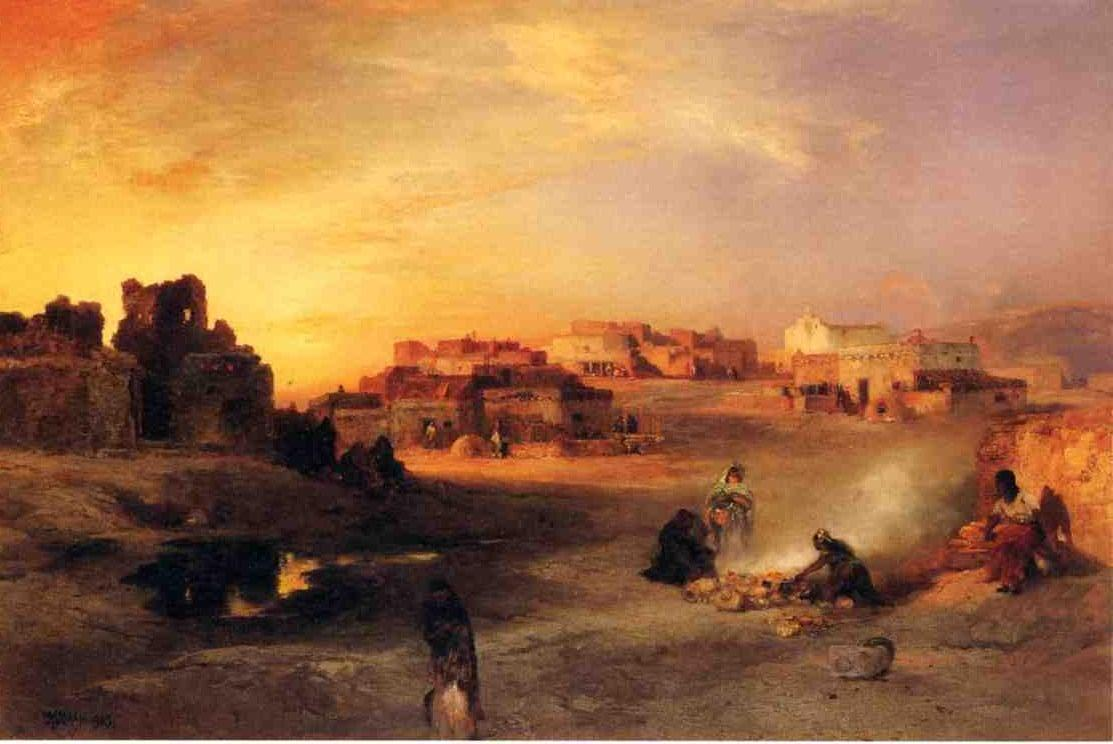 Indian Pueblo Laguna New Mexico 1905   Thomas Moran   oil painting