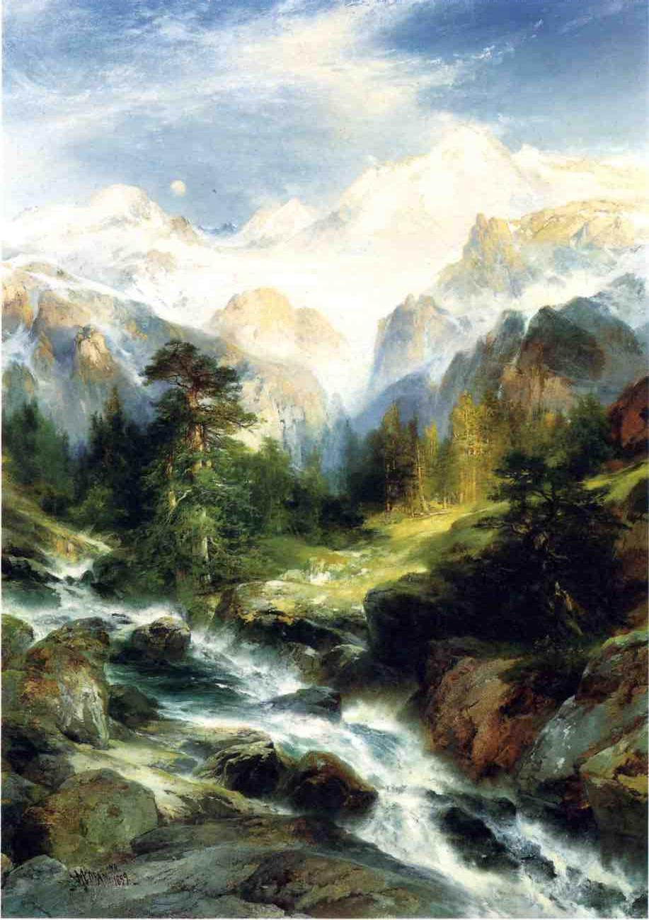 In the Teton Range 1899   Thomas Moran   oil painting