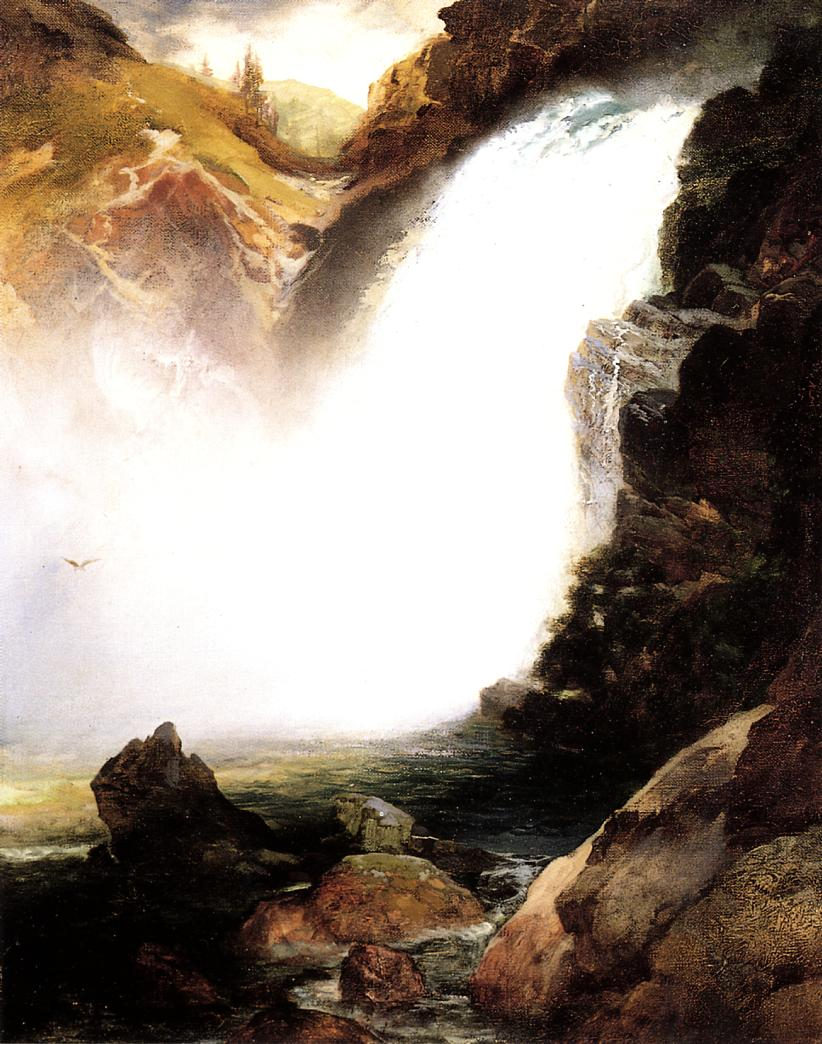 Landscape with Waterfall 1893   Thomas Moran   oil painting