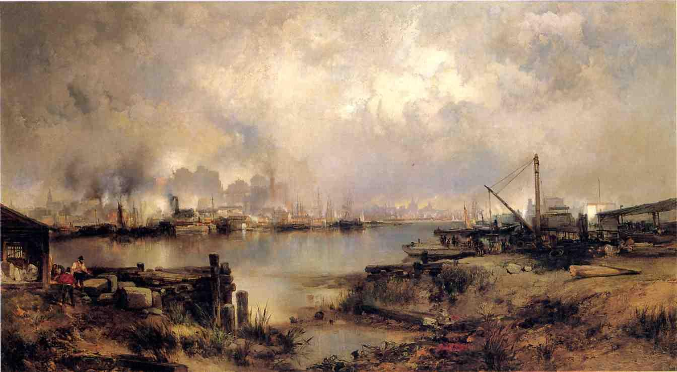 Lower Manhattan from Communipaw New Jersey 1880   Thomas Moran   oil painting