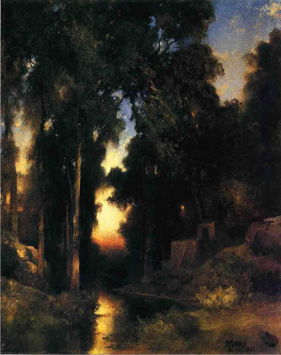 Mission in Old Mexico 1921   Thomas Moran   oil painting