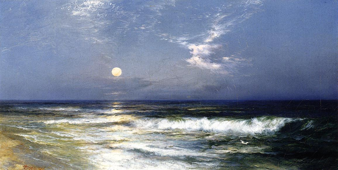 Moonlit Seascape 1891   Thomas Moran   oil painting