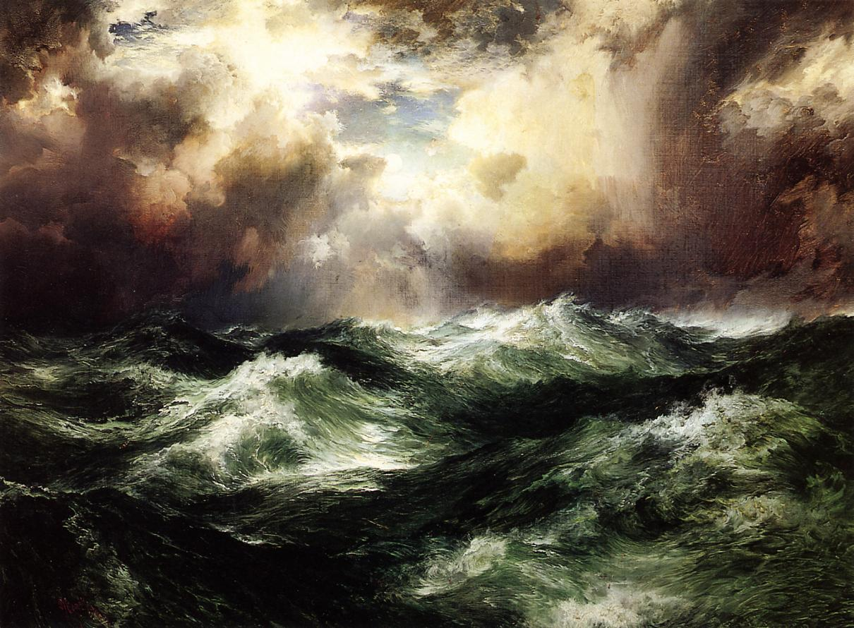 Moonlit Seascape 1902   Thomas Moran   oil painting