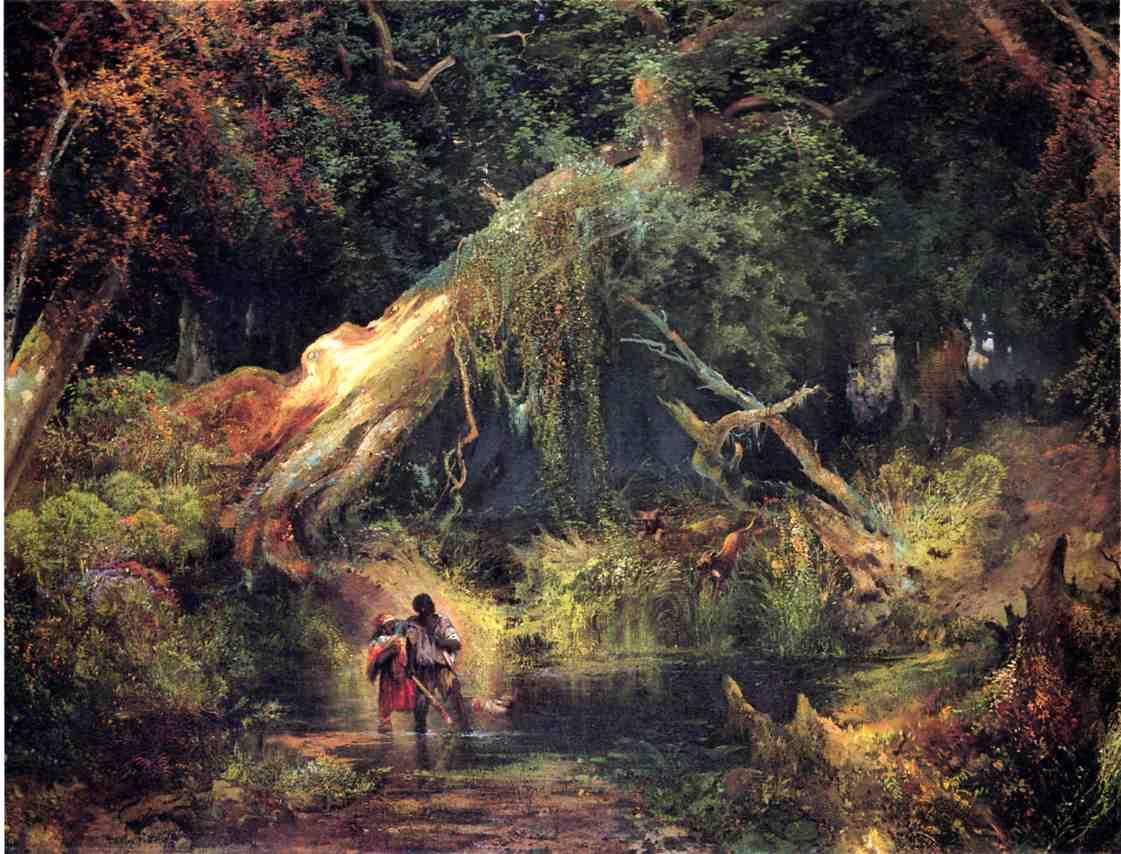 Slave Hunt Dismal Swamp Virginia 1862   Thomas Moran   oil painting