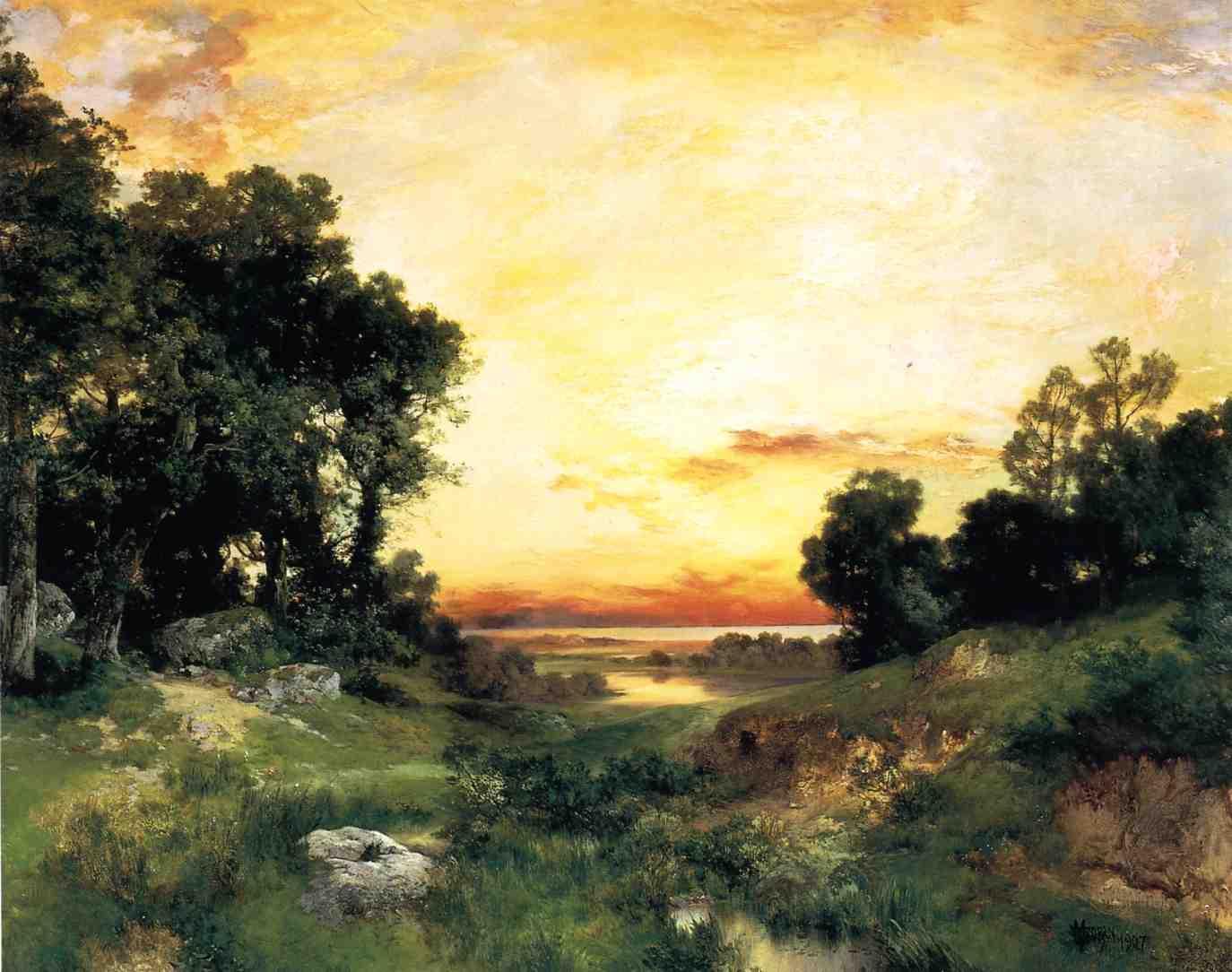 Sunset Long Island Sound 1907   Thomas Moran   oil painting
