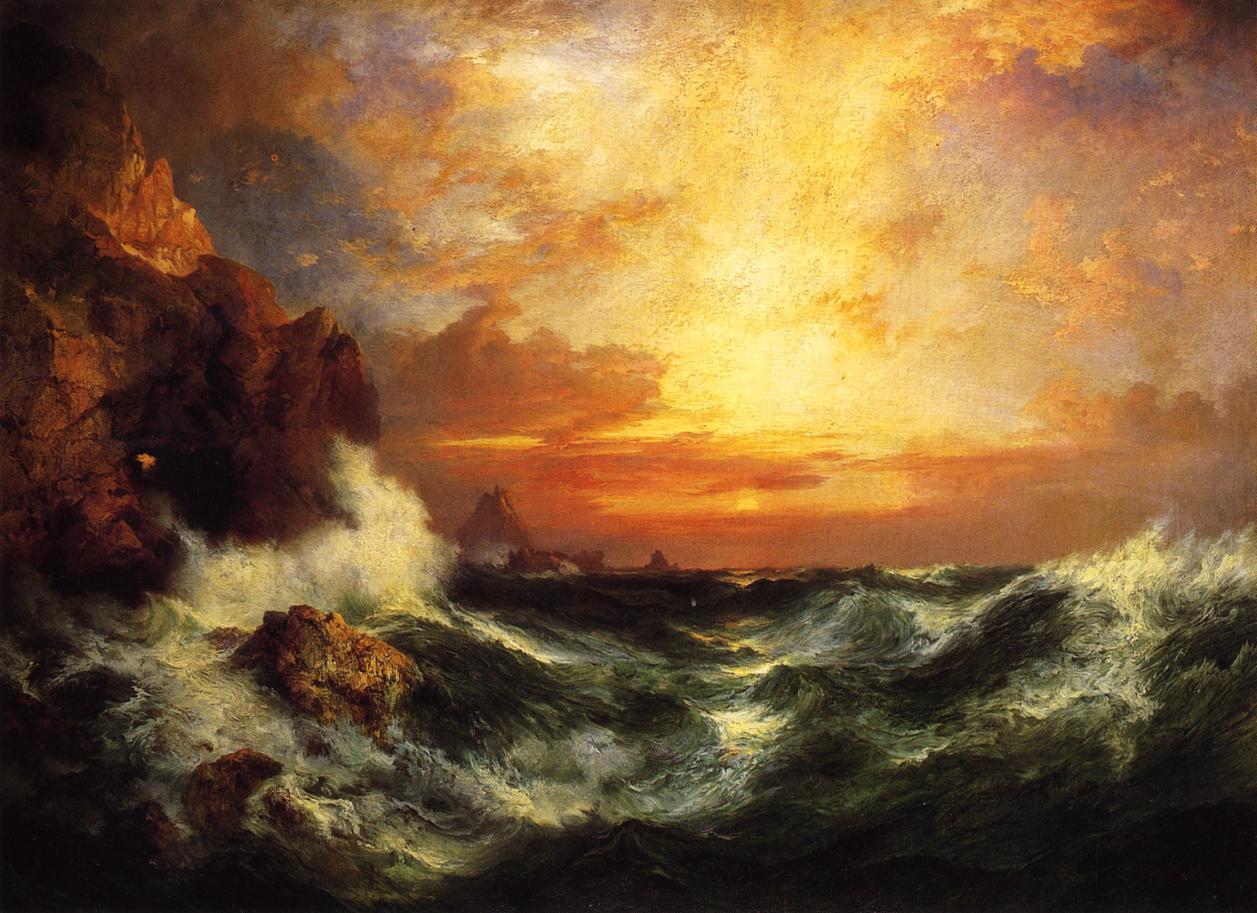 Sunset near Land's End Cornwall England 1909   Thomas Moran   oil painting