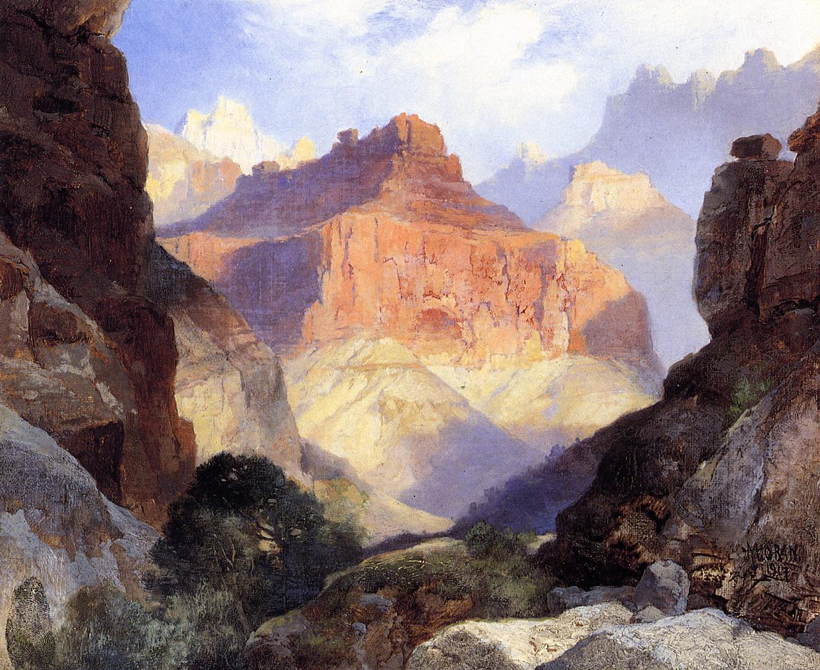 Under the Red Wall Grand Canyon of Arizona 1917 | Thomas Moran | oil painting