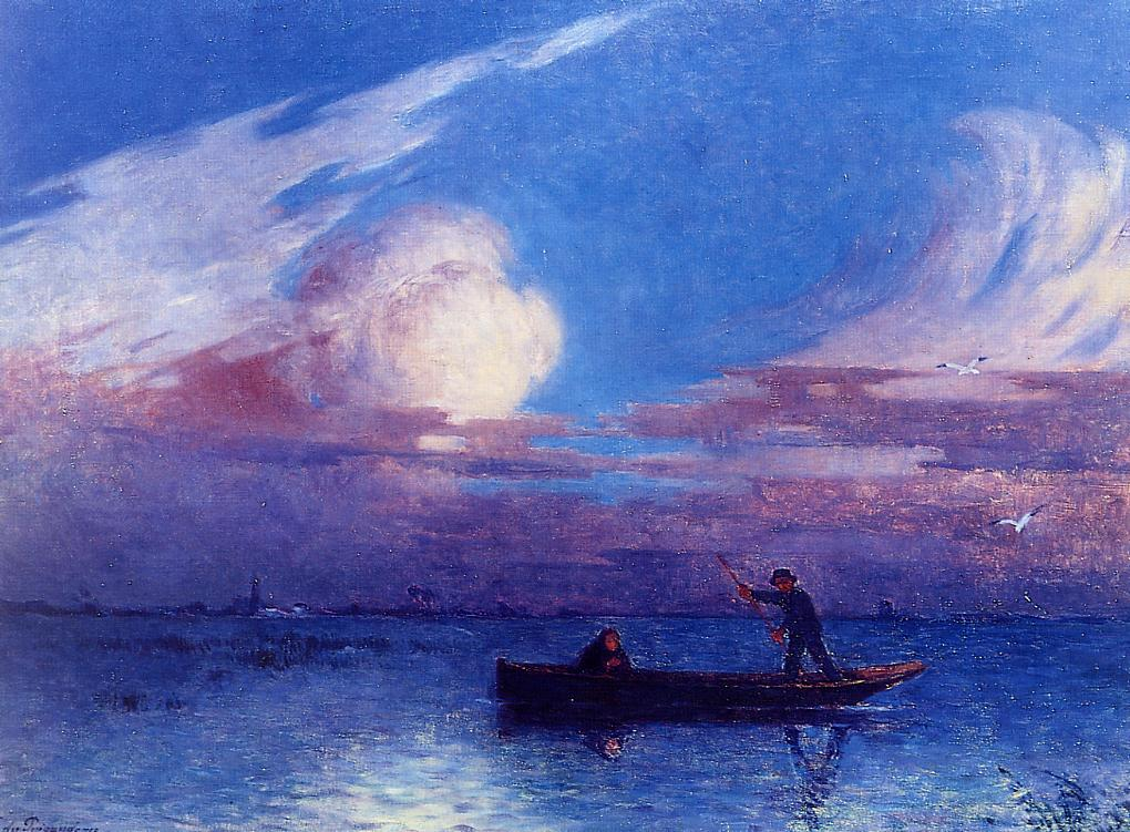 Boating at Night in Briere 1924-1926 | Ferdindand Puigaudeau | oil painting