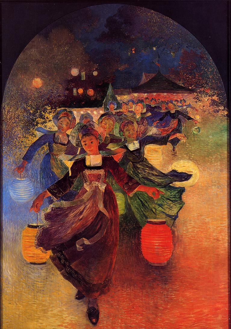 Breton Girls with Chinese Lanterns 1896 | Ferdindand Puigaudeau | oil painting