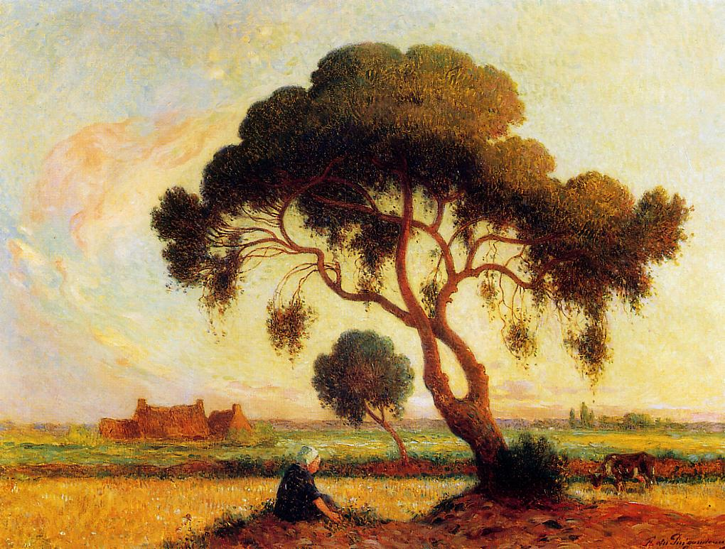 Breton Woman Seated under a Large Tree 1907-1915 | Ferdindand Puigaudeau | oil painting