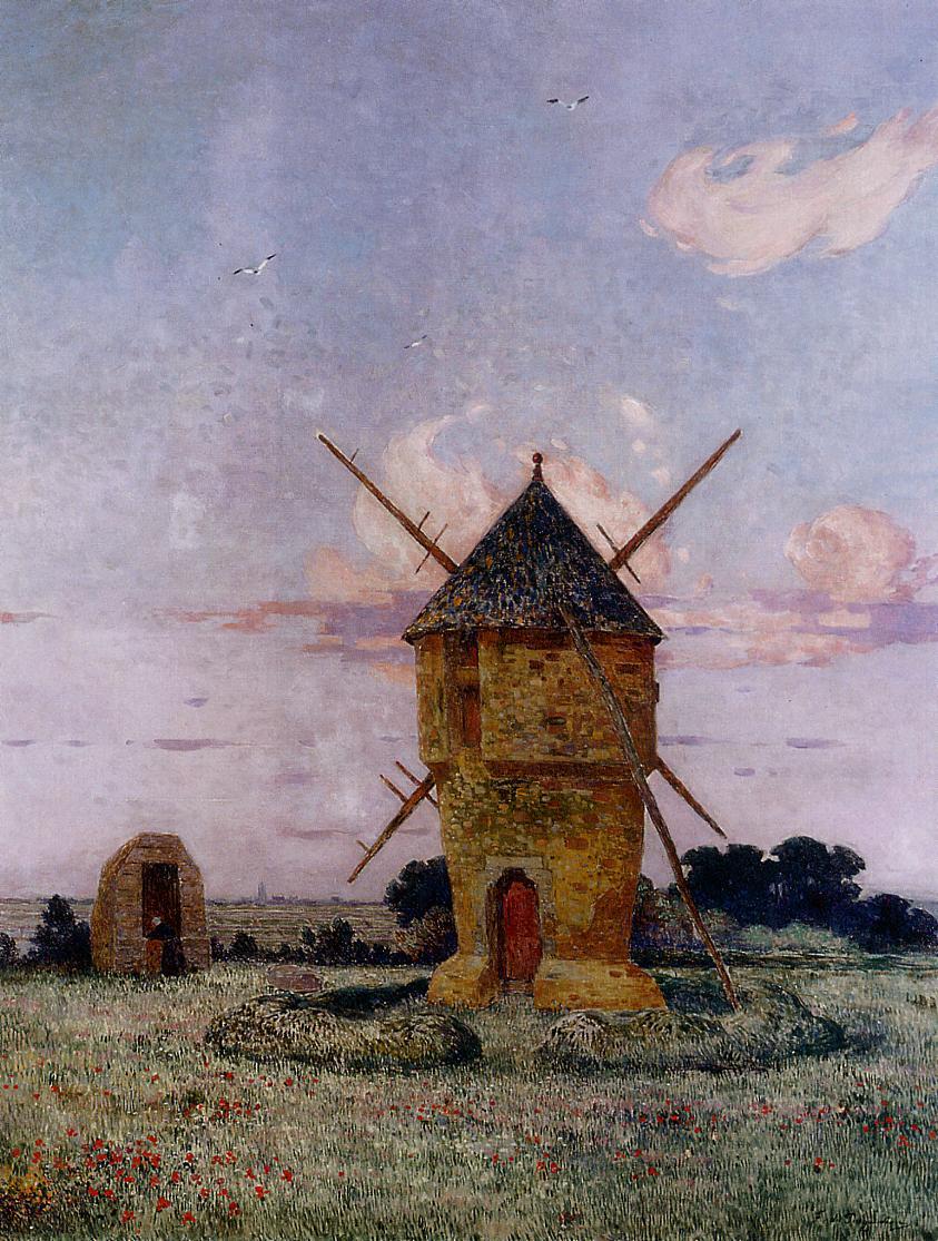 Brittany near Pulis (aka Windmill near Guerande) | Ferdindand Puigaudeau | oil painting