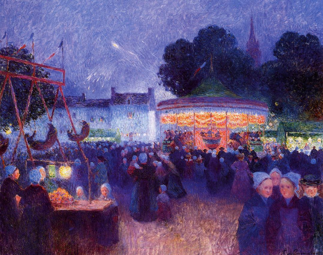 Carnival at Night Saint-Paul de Leon 1894 | Ferdindand Puigaudeau | oil painting
