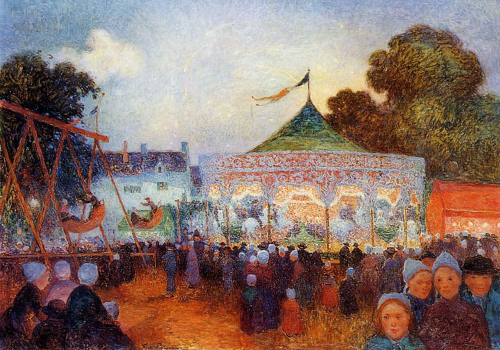 Carousel at Night at the Fair 1895-1898 | Ferdindand Puigaudeau | oil painting