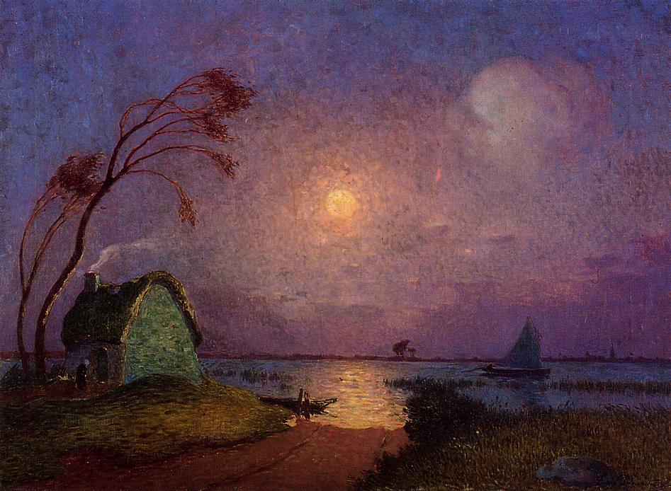 Cottage in the Moonlight in Briere | Ferdindand Puigaudeau | oil painting