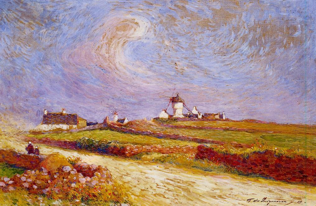 Countryside with Windmill near Batz | Ferdindand Puigaudeau | oil painting