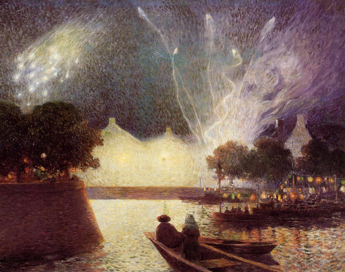 Fireworks over the Port | Ferdindand Puigaudeau | oil painting