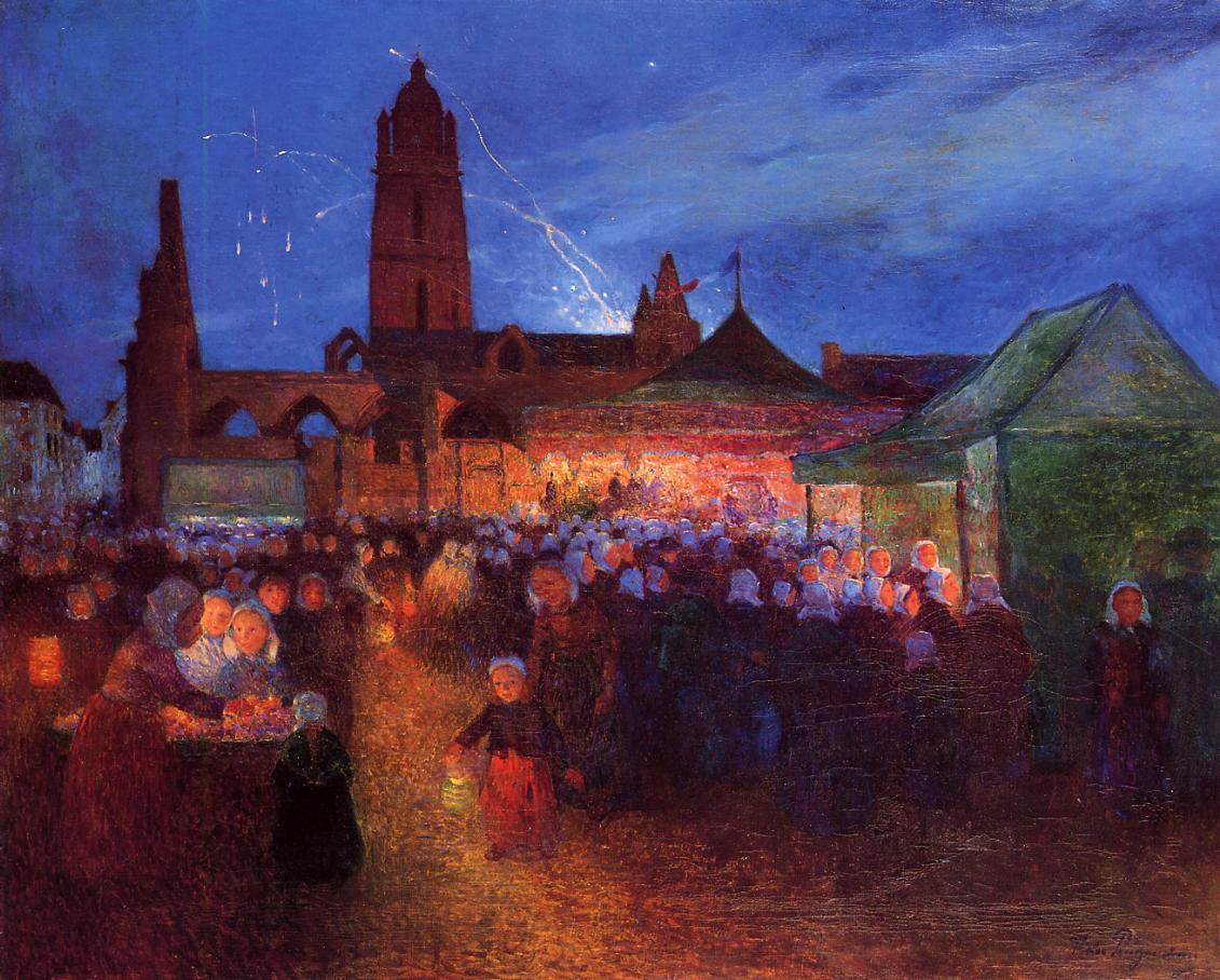 July 14th Fireworks at Bourg-de-Batz | Ferdindand Puigaudeau | oil painting