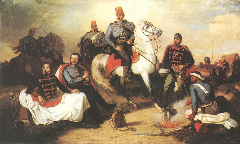 Hussar Officiers at Camp 1857 | Karoly Lotz | oil painting