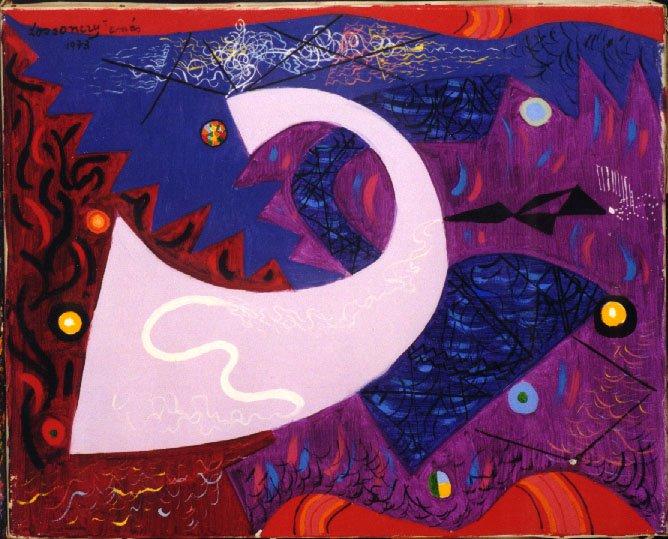 Swan 1973   Tamas Lossonczy   oil painting