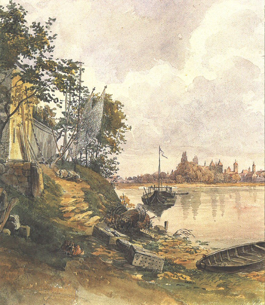 Regensburg View of the River Bank 1849   Lajos Karoly Libay   oil painting