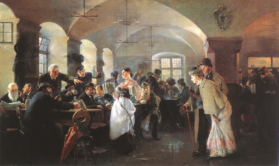 In the Hofbrauhaus in Munich 1892 | Elek Fulop Laszlo | oil painting