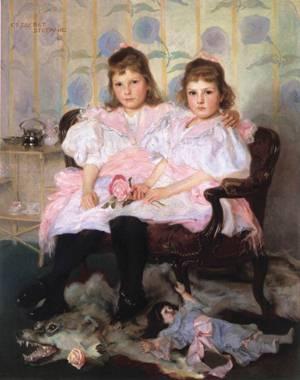 Double Portrait of Erzsebet and Stefanie 1896 | Elek Fulop Laszlo | oil painting