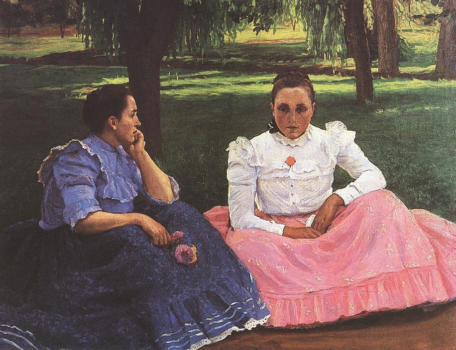 Sunday Conversation of Girls at Somogytur 1909 | Lajos Kunffy | oil painting