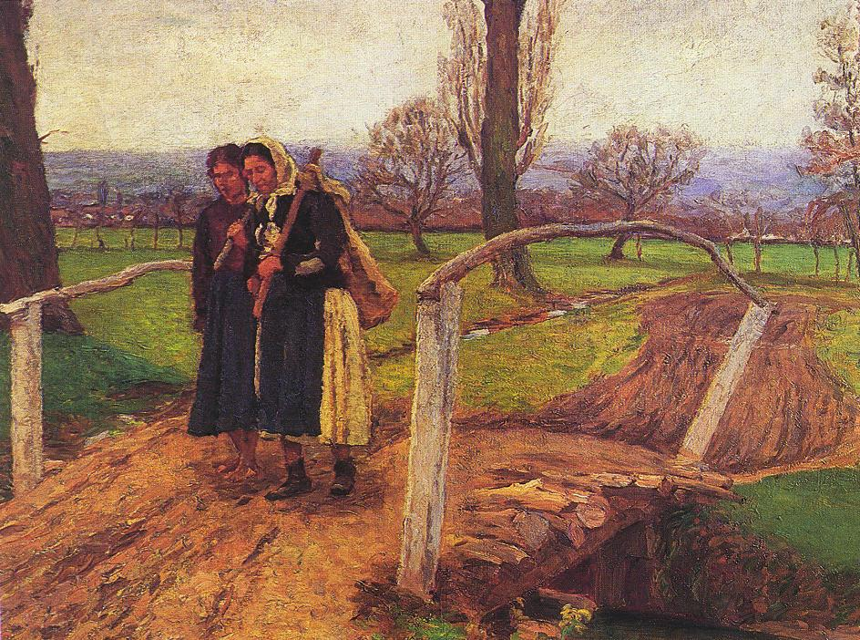 Gypsy Women on the Bridge (On the Way Home) 1911 | Lajos Kunffy | oil painting