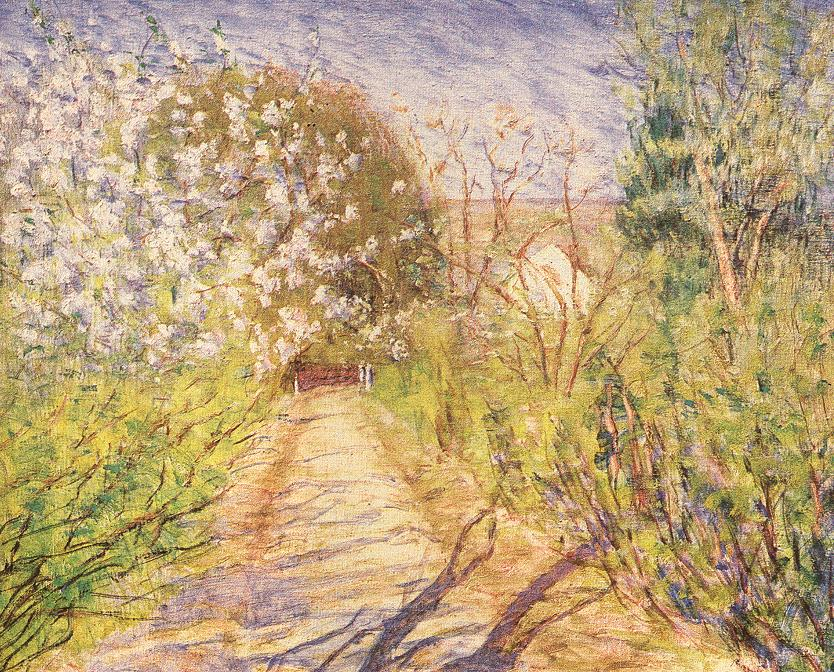 Garden Path with Blossoming Bushes 1935 | Lajos Kunffy | oil painting